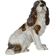 A Goldscheider ( Wien ) , 'made in Germany,' seated Spaniel dog,1938c.