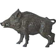 A patinated bronze boar, 1910 c.