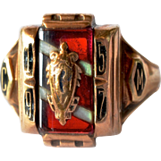A vintage gold ( 10 carat ) American fraternity ring, 1957 inscribed.