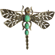 A sterling silver ( 925 ) dragonfly brooch,  vintage European.