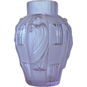 An Art Deco molded lilac glass Czechoslovakian vase, 1930c.