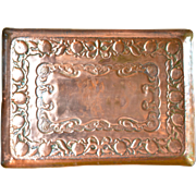 An Arts & Crafts square copper tray, 1900c.