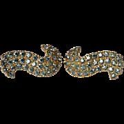 Pair of Schiaparelli vintage costume earrings, 1950s.