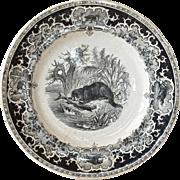 An Opaque de Sarreguemines decorative plate, 1875 - 1900.