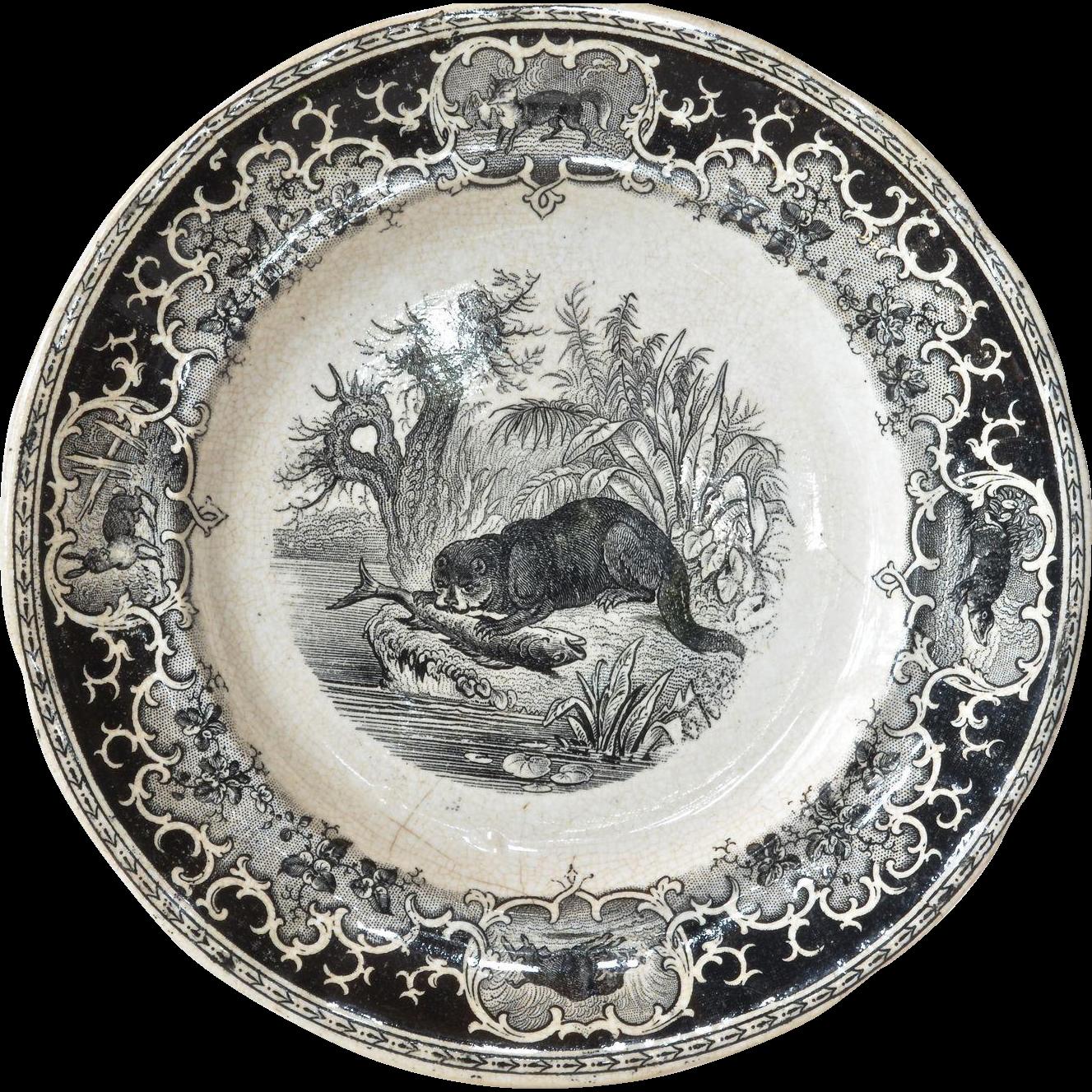 An opaque de sarreguemines decorative plate 1875 1900 for Decoration plates