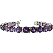 Amethyst set line bracelet, white gold (18 ct ) vintage, probably Italian.
