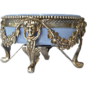 An antique French  silver salt cellar, mid 18th century.