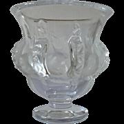 A vintage Lalique Dampierre crystal glassware vase.
