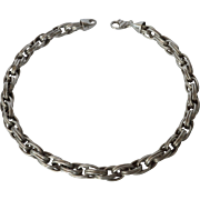 A vintage sterling silver (925) double linked chain necklace, Italian.