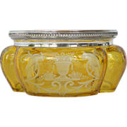 Bohemian Etched Yellow Flashed Glass Bowl with Silver Rim.