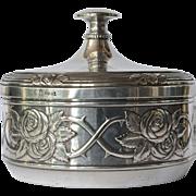 A W.M.F, Geislingen alpacca ( nickel silver )  art nouveau round box, 1900c.