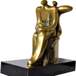 Margarita Farré, an abstract bronze , with some patination, vintage sculpture.