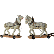 Pair of papier maché horses, 1890c.