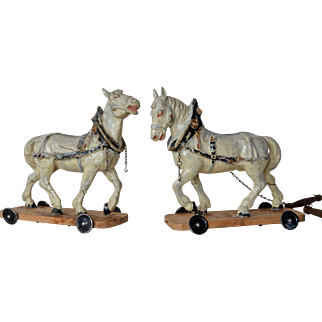 Pair of papier maché horses, 1890c.
