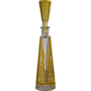An art deco amber/plain glass scent bottle, 1925c.
