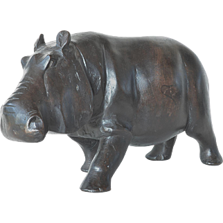 An early vintage African hand carved hippopotamus.