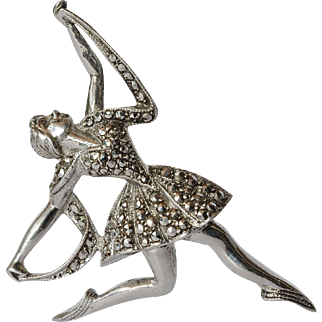 A vintage silver (800) and marcasite set   ballerina pin brooch.