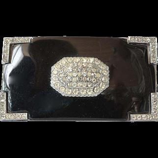 A vintage rectangular silver tone /faux onyx/rhinestone pin brooch.