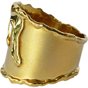 A Swiss ' studio' yellow gold 14 ct. vintage broad band ring, 1975c.