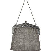 An early vintage  Continental ,800 standard,  silver mesh evening bag
