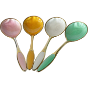 Set of 4 Frigast , Denmark, sterling silver demi-tasse spoons, enamelled /guilloché work, 1965c.