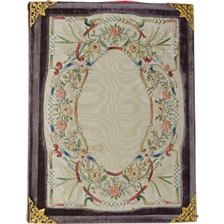 An antique Lady's embroidered silk and velvet letter folder.