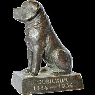 A solid bronze St. Bernard dog, 1934.