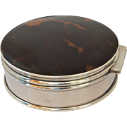 A sterling silver (925) and faux tortoise shell trinket box, 1914.