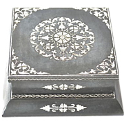 Cigarette Dispenser -  a metal and silver coloured metal inlaid rectangular box, probably Indian,