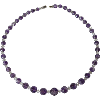 Vintage amethyst and crystal graduated necklace, mid 20th. century.