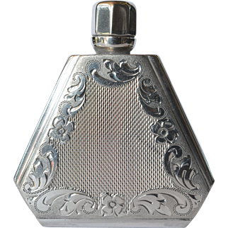 Art deco, early vintage Continental silver ( 800 standard ) scent bottle, 1930c.