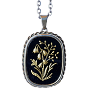Early vintage , art deco, Continental silver ( 800 standard ) pendant ( with chain ), onyx and gilt work, 1940c.