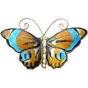 A vintage David Andersen, Norway , sterling silver butterfly brooch, 1950s.