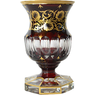 An early vintage Bohemian ruby red glass vase/goblet, 1930-1940.