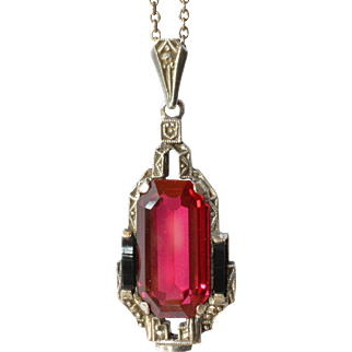 A silver ( 835 ) and rhodonite stone pendant, 1940c.