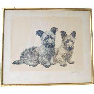 Two Skye terriers-original etching by Kurt Meyer-Eberhardt,1930s.