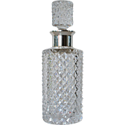 A vintage round ,diamond point, sterling silver mounted , decanter, 1965c.