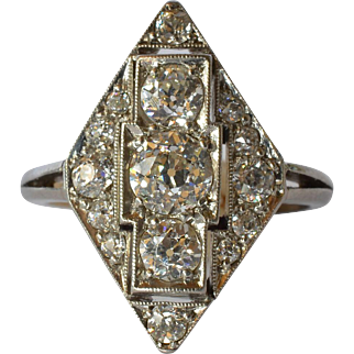 An Art Deco Platinum & Diamond Ring, circa 1925.