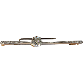 Single stone diamond set bar brooch, 1910 c.