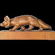 Swiss, Brienz, wooden carved fox  by Huggler, vintage.