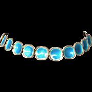 Borgila necklace - blue enamel and sterling silver - 1950s.