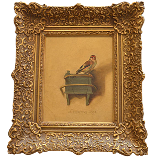 Carel Fabritius , 1654 , The Goldfinch, oil on canvas , early reproduction.