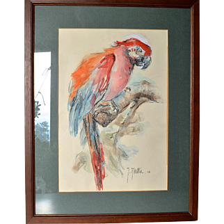 Vintage watercolour painting  of a parrot, Swiss, 1982, signed.