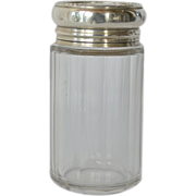 Dresser Jar,clear glass, silver lid, 1904.