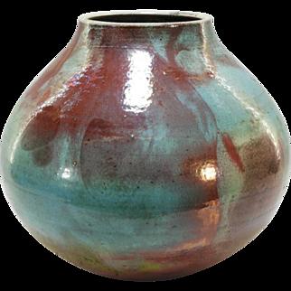 """Mark Hines 12"""" tall Contemporary Raku Art Pottery Vase"""