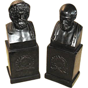 Vintage Bronze Busts – Aristotle and Socrates