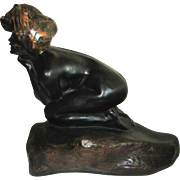 Bronzed Replica of a Kneeling Nude by  R.H. Recchia