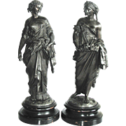 Two Antique 19th C. Bronzed  Neoclassical Statues of The Seasons