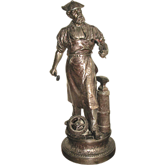 19th C. Spelter Statue of Blacksmith by Waagen