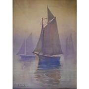 John Cook (1870-1936)  Watercolor on Paper – Sailboats